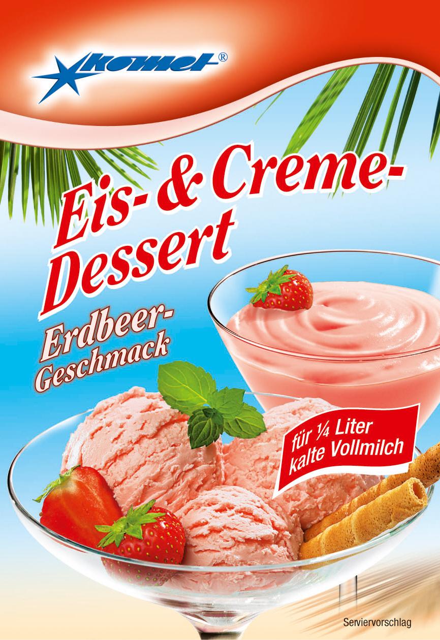 eis creme dessert erdbeer geschmack komet online shop. Black Bedroom Furniture Sets. Home Design Ideas